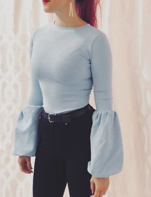 Fitted Shirt - Puff Sleeve (Dusty Blue)