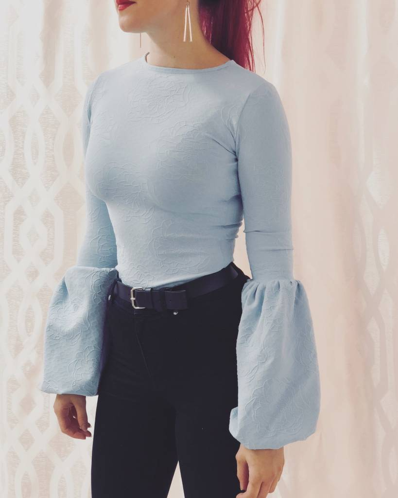 Sooley Designs Fitted Shirt - Puff Sleeve (Dusty Blue)