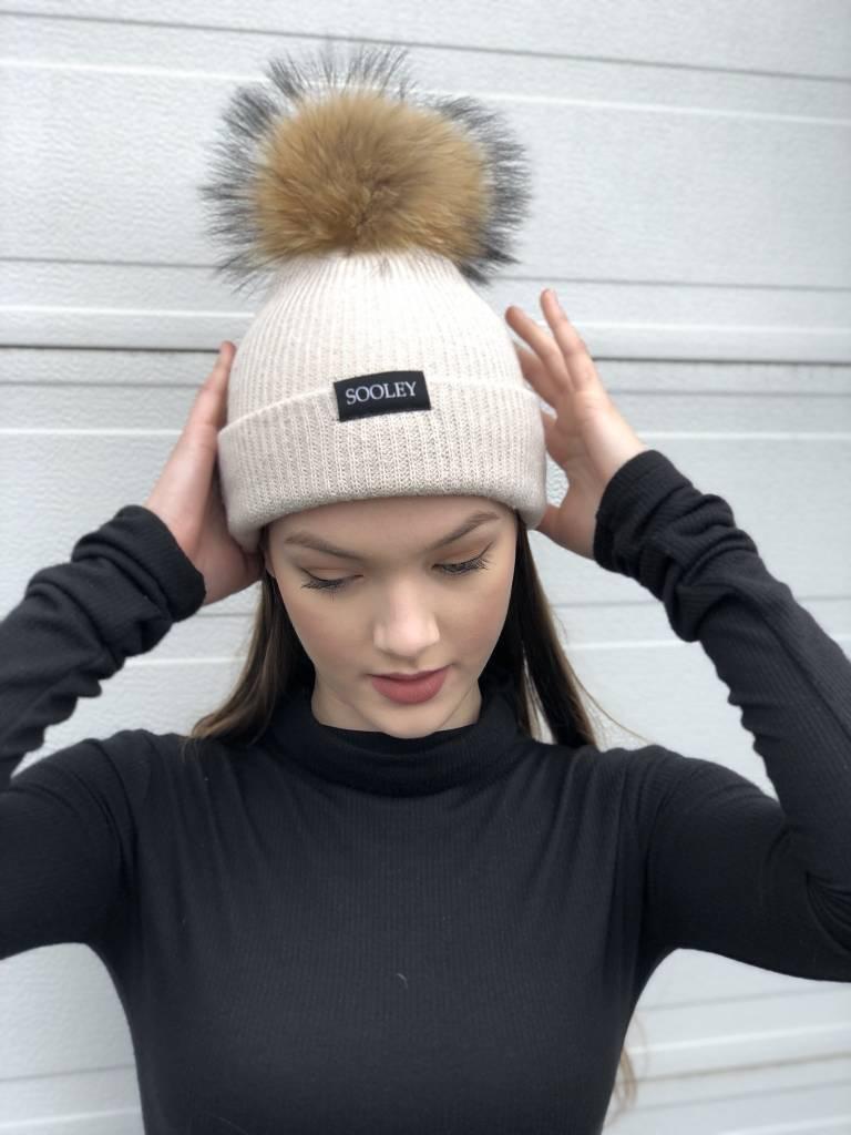 Sooley Designs Cashmere Hat (Bone w/ Natural Medium Pom)