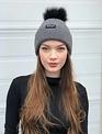 Sooley Designs Hat (Grey Cashmere/Black Pom/M)