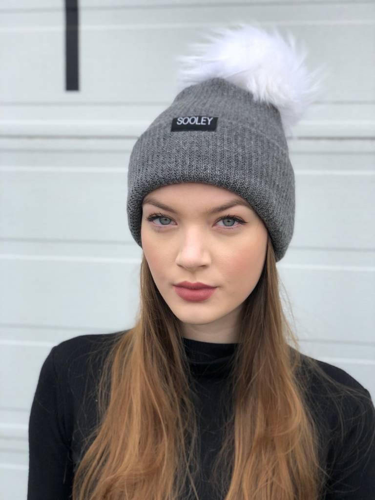 Sooley Designs Hat - Grey Cashmere (XL White Pom)