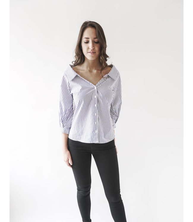VELVET ROSETTA STRIPE SHIRT - BLUE -
