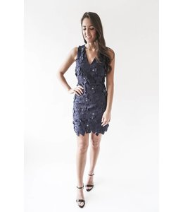 MICHAEL KORS FLORAL DRESS -8KT- NAVY