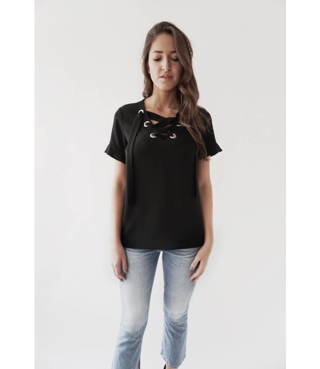MICHAEL KORS LACE UP TOP - 4YP - BLACK