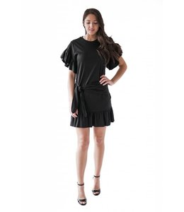SCOTCH AND SODA JERSEY DRESS RUFFLE - BLACK - 486 -