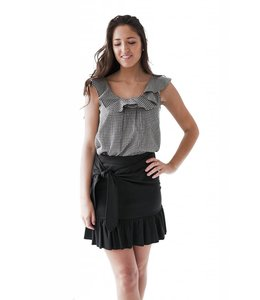 SCOTCH AND SODA JERSEY RUFFLE SKIRT - BLACK - 729 -