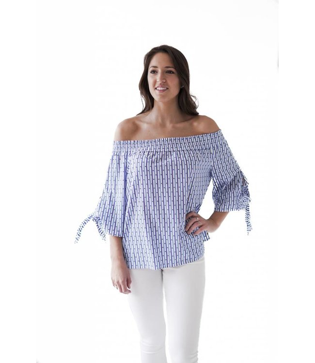 SCOTCH AND SODA OFF THE SHOULDER TOP - BLUE - 018 -
