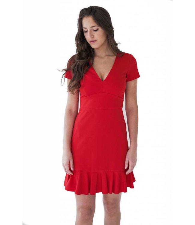 SET VNECK DRESS - 813 - RED