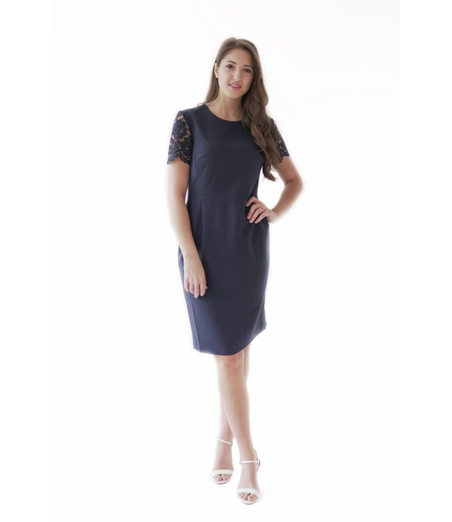 FRENCH CONNECTION WHISPER LACE DRESS - JEI - NAVY
