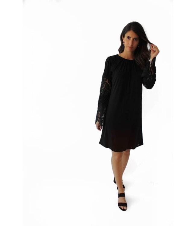 MICHAEL KORS LACE SHIRT DRESS - 03G - BLACK