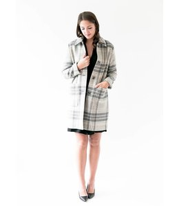 JUDITH & CHARLES FINLAND COAT - 8264 - TAUPE PLAID