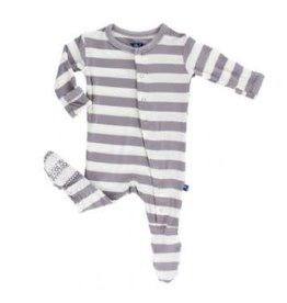 KICKEE PANTS Feather Contrast Stripe Print Footie