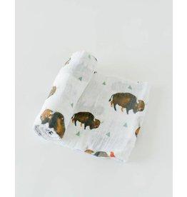 LITTLE UNICORN Cotton Muslin Swaddle - Bison