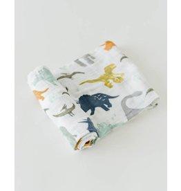 LITTLE UNICORN Cotton Muslin Swaddle - Dino Friends