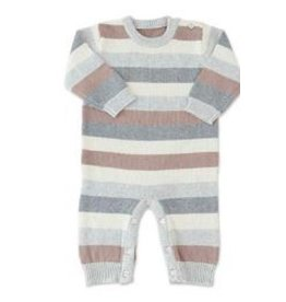 BABY KNIT GREY/BUFF STRIPE 1 PIECE 12-18M