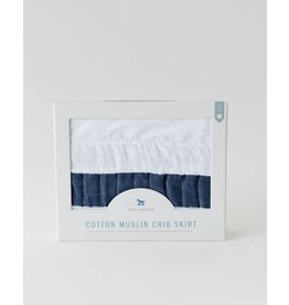 LITTLE UNICORN Cotton Muslin Crib Skirt - Navy Stripe