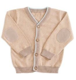 BABY Tan Cardigan Trimmed with Blue