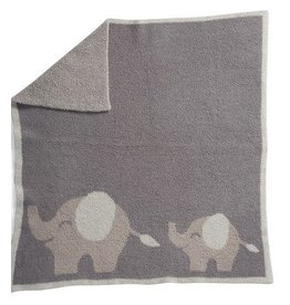 BAREFOOT DREAMS Cozychic Follow Me Elephant Blanket, Dove Gray - 30 Inch X 32 Inch