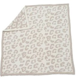 "BAREFOOT DREAMS CozyChic Barefoot in the Wild Baby Blanket, Stone/Cream - 30"" x 32"""