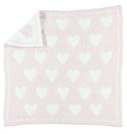 BAREFOOT DREAMS CozyChic Dream Receiving Blanket PINK-WHITE HEARTS