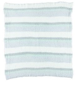 "BAREFOOT DREAMS CozyChic Multi-Stripe Stroller Blanket White-Ocean-Aqua-Ice-Blue 32"" x 38"""