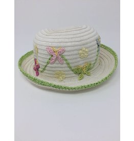 BABY Little Girls' Hat- Cream with Butterflies