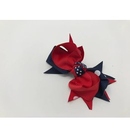 BABY Red with Navy Large Dot Hair Bow