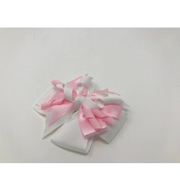 BABY Pink Dot, White Curley Hair Bow