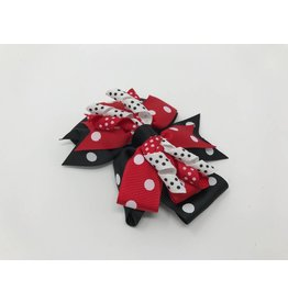 BABY Large Red & Black Dot Hair Bow