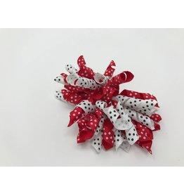 BABY Red & White Mini Dot Hair Bow