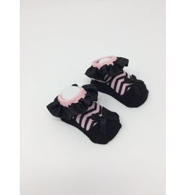 BABY Bootie - Black and Pink Zebra Stripe