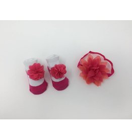 BABY Hot Pink and Coral Headband and Bootie Set