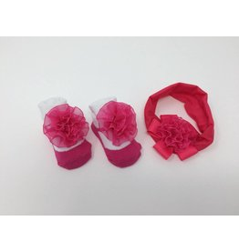 BABY Hot Pink Flower Headband and Bootie Set