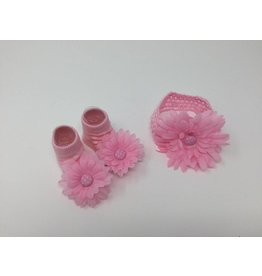 BABY Light Pink with Dots Headband and Bootie Set 12-24M