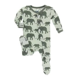 KICKEE PANTS Footie - Aloe Elephant