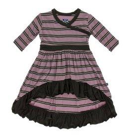 KICKEE PANTS Long Sleeve Hilo Maxi Dress - Elderberry Kenya Stripe