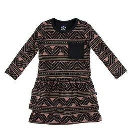 KICKEE PANTS Long Sleeve Performance Jersey Waist Dress - African Pattern