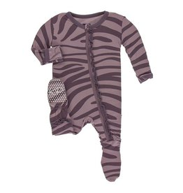 KICKEE PANTS Muffin Ruffle Footie - Elderberry Zebra Print