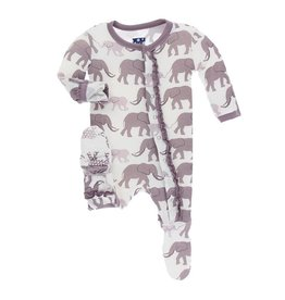 KICKEE PANTS Muffin Ruffle Footie - Natural Elephant