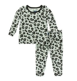 KICKEE PANTS Long Sleeve PJ Set - Aloe Cheetah Print 6-12M