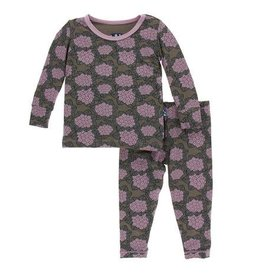 KICKEE PANTS Long Sleeve PJ Set - African Violets 6-12M
