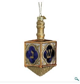 Glass Jewish Dreidel Ornament
