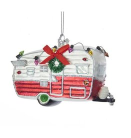 Red and White Camping Car Glass Ornament