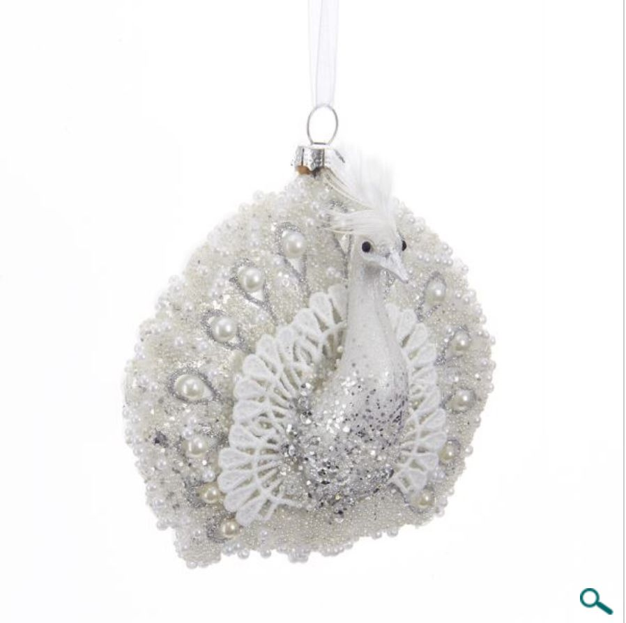 Glass White With Pearl Peacock Ornament
