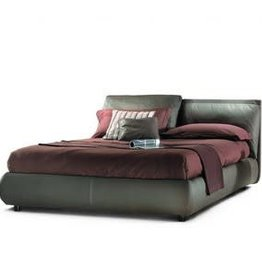 Malou Queen Bed with Storage  Brown leather