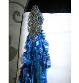 Blue Mermaid Peacock hip & hair tassel clip/ yarn fall