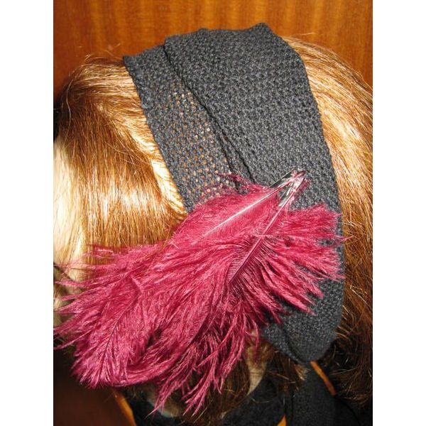 Black net hip & hair scarf