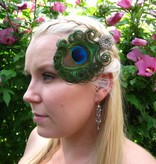 Peacock Hair Jewelry Silver Flower