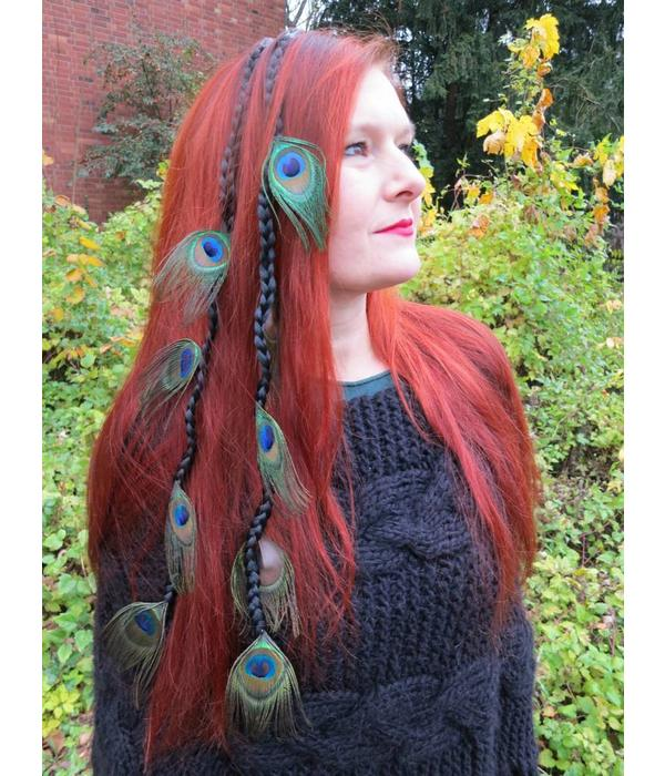 Peacock Feather Extensions Fantasy Wedding Hair Piece Magic Tribal