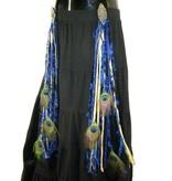 Gold & Blue Peacock hip & hair tassel clip/ yarn fall